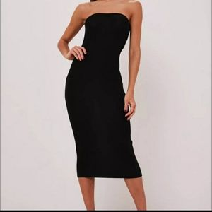 Missguided Bandeau Midaxi Dress Black Size 8